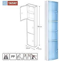TATAY 4480000 - Armario de baño vertical en PP, 22 x 10 x 90,5 cm, apto para sistema de fijación Glu&Fix armarios, azul