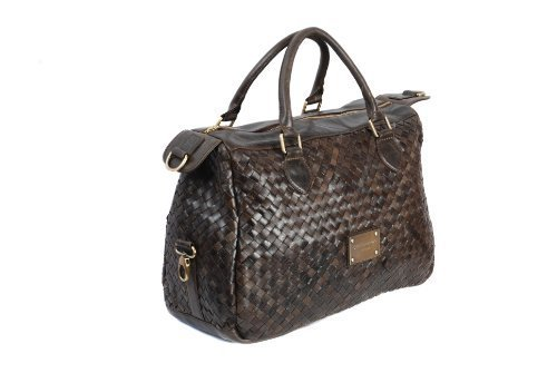Brown Leather Large Two Handled Handbag Bowling Bag Woven Effect by Smith & Canova