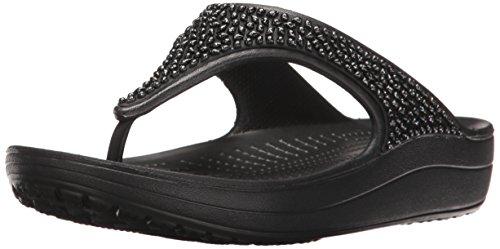 Crocs Damen Sloane Embellished Flip Plateau Sandalen, Schwarz (Black 060), 39/40 EU