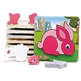 Card Boy Holz Puzzles für Kleinkinder Reihe von 7 Kleinkind Puzzles - Marienkäfer / Huhn / Kohl / Kaninchen / Fisch / Flugzeug / Schafe für Kinder 3+