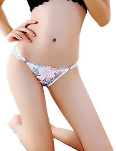 Jacquard Tanga (Bikinis Taillenslips für Damen Erotische Damen-Höschen Strings Tangas für Damen Damen Jacquard - Nahtlose niedrige Taille, Weiß)