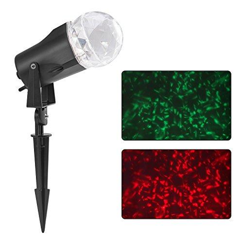 Han Lucky Star LED Lichteffekt Innen und Außen IP44 Licht Projektor Flamme Gartenleuchte Projektor Mauer Dekoration Party Licht Gartenlicht für Festen Weihnachten Karneval (Rot + Grün)