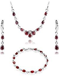 LillyMarie Damen Silber-Schmuckset Silber 925 Zirkonia-Steine rot längen-verstellbar Schmucketui, beste Freundin Geschenk