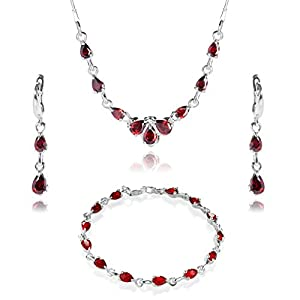 LillyMarie Damen Schmuck set Sterlingsilber 925 Zirkonia-Steine rot Längen-verstellbar Geschenkbox Brautschmuck