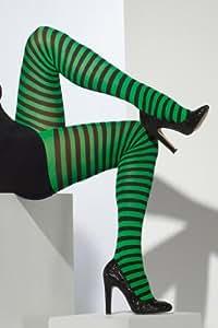 Collants rayés vert et noir femme