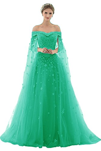 AZNA Damen Prinzessin Spitze Abendkleider Ballkleid Partykleid Hochzeitskleider Lang mit Schleppe Smaragd 56 (Partykleid Smaragd Grün)