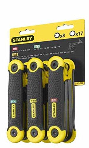Stanley 2-69-268 confezione 3 set chiavi esagonali maschio in pollici/millimetri