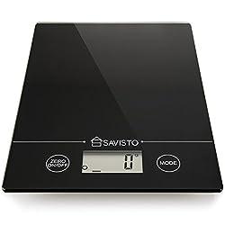 Savisto 5KG Elektronische Hoch Akurate Digitale Küchenwaage mit großer LCD Anzeige - Schwarz Hartglas Stand Waage für Lebensmittel/Kräuter/Kaffee