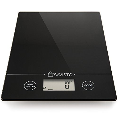 Savisto-5KG-Electronic-High-Accuracy-Digital-Kitchen-Scales-with-Large-LCD-Display-Black-Glass-Platform-Scale-for-Food-Herbs-Spices-Coffee