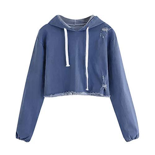 BHYDRY Frauen Casual Denim Langarm Pullover Bluse Shirts Sweatshirt(Small,Blau)
