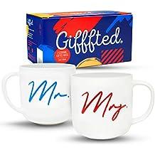 Gifffted Mr y Mrs Parejas Aniversario de Tazas para El y Ella, Happily Ever After