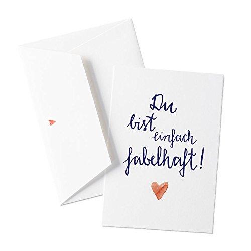 Schöne Grußkarte zu Hochzeit Valentinstag Geburtstag oder zwischendurch - Du bist einfach fabelhaft - Originelle Grußkarte auf hochwertigem Büttenpapier mit Umschlag, zum Valentinsgeschenk, Valentinskarte für Verliebte, allgemeine Grußkarte im schönen Kalligrafie Design, Blau Weiß mit Herz