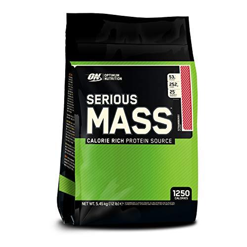 Optimum Nutrition Serious Mass Weight Gainer (mit Kohlenhydrate, Whey Eiweißmischung Pulver, Vitaminen, Kreatin und Glutamin, Protein Shake von ON) Strawberry, 16 Portionen, 5,45kg