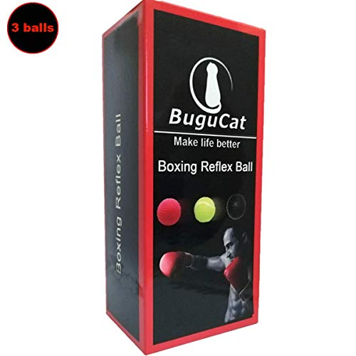 BuguCat Boxen Training Ball,Reflex Fightball Kampf Dekompression Geschwindigkeit Speed Fitness Punch Boxing Ball mit Kopfband, Trainingsgerät Speedball Zuhause und Outdoor für Boxtraining DREI Bälle