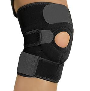Amotus profesionales rodillera de neopreno apoyo de la rodilla totalmente ajustable alivio seco transpirable abierto rótula dolor en la rodilla del menisco, la artritis y la ACL, fútbol, Negro