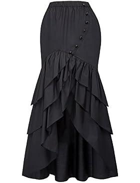 Belle Poque® Falda Asimétrica para Mujer Vintage con Volante Gitana Estilo Gótico Irregular