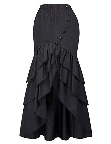 Belle Poque Falda Asimétrica Mujer Negra Steampunk