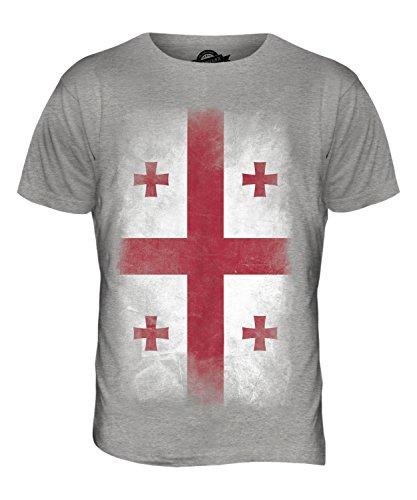 CandyMix Georgien Verblichen Flagge Herren T Shirt Grau Meliert