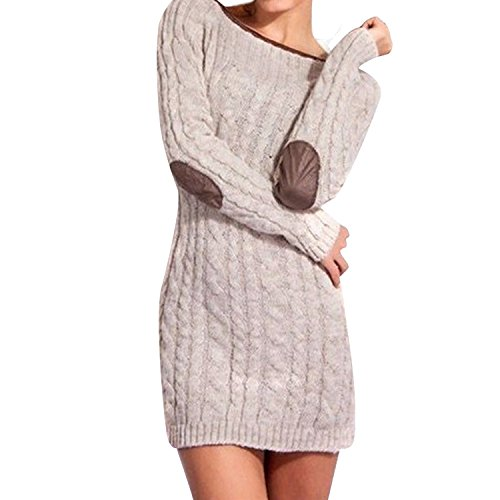 LAEMILIA Damen Lang Pullover Kleid Strick Patchwork Herbst Strickpulli Rundhals Langarmshirt Tops Outwear Winter