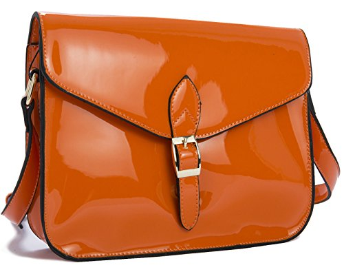 Big Handbag Shop Damen Lack-Kunstleder-Umhängetasche orange