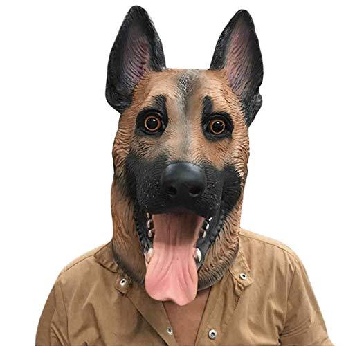 Fancy Hunde Kostüm Dress - Maske Latex Hund Kopf Kostüm Fancy Dress Party Halloween, Creepy Adult Kopf Gummi