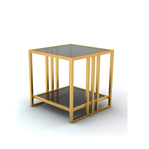 Duo Mesa Auxiliar con Estilo, Mesa Auxiliar, Tapa Superior de Vidrio Transparente Plaza contemporánea con Base de Acero para Muebles de la Sala de Estar 50 * 50 * 50cm (Color : Oro)
