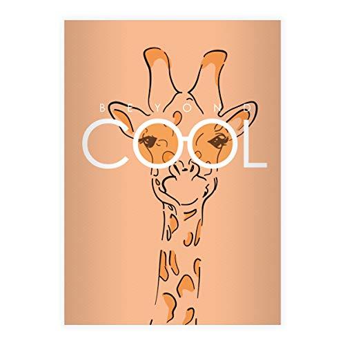 8 Beyond Cool DIN A5 Schulhefte, Rechenhefte mit Sonnenbrillen Giraffe, orange Lineatur 7 (kariertes Heft 16 Blatt/32 Seiten) Notizheft, Kladde für Schule, Universität, Büro
