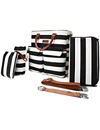 Primebabe 5 In 1 Baby Diaper Bag, Black And White