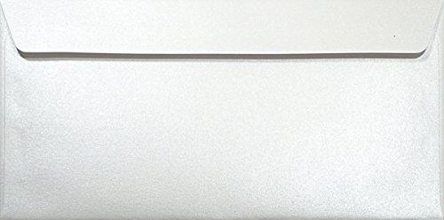100 Perlmutt- Weiße DL DIN Lang Briefumschläge 120g, 110x220mm, Majestic Marble White, gerade Klappe, ideal für Hochzeit, Geburtstag, Taufe,Weihnachten, Einladungen, Gelegenheitskarten, Briefkarten