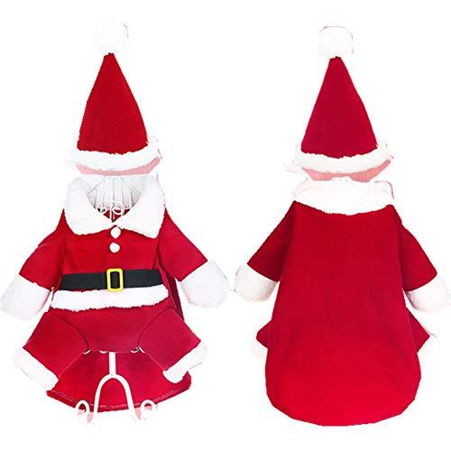 ODOSAN Pet Santa Claus Kostüm Outfit Weihnachten Pet Kostüme für Hunde und Katzen, S, Rot - Match-outfits