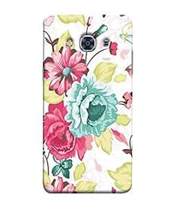 PrintVisa Designer Back Case Cover for Samsung Galaxy J3(2017) (Red Rose Sober Blue Flowers Prints)