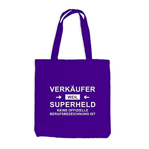 Jutebeutel - Verkäufer Superheld - Hero Beruf Violett