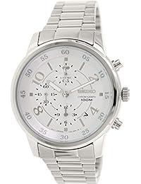 Seiko–sndw87–Armbanduhr–Quarz Chronograph–Weißes Ziffernblatt–Armband Stahl Grau