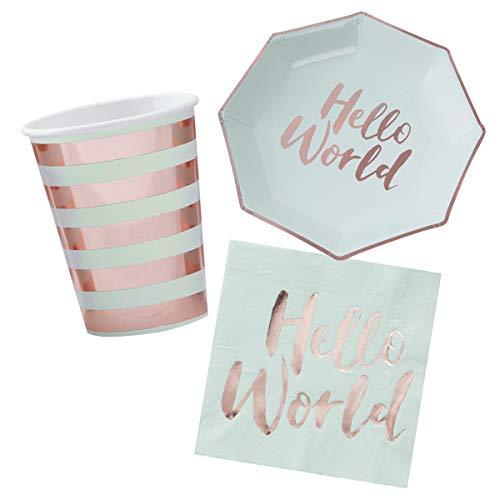 in due 36-TLG. Dekorationsset 'Hello World' Geburt Babyparty Baby Junge Mädchen Mint roségold - Party Deko Set Teller, Becher & Servietten
