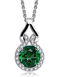 e095f4854459 Collar con colgante con Redondo Esmeralda simulada verde Cristales  austríacos de Zirconia 18k Chapado en oro
