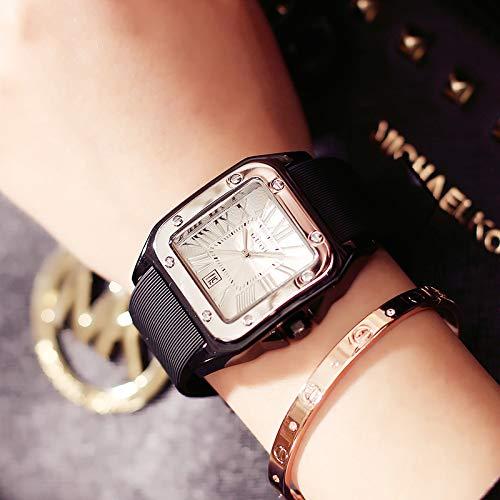 Uhren Frauen Männer und Frauen Paar Tabellen Quarzuhr Quadrat Silikonband Schwarzer Gürtel Silberring weiße Platte