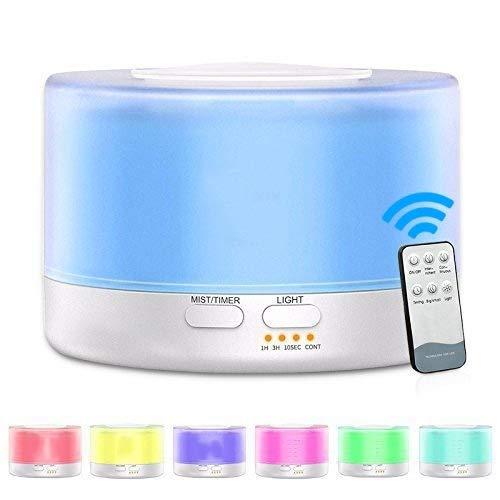 Lanbinxiang@ T700, Fernluftbefeuchter ätherisches Öl Diffusor, transparent weiß, Ultraschall-Aromadiffusor, Zerstäuber-Farb-LED, Fassungsvermögen: 700ml, DC 24V, US-Stecker (Artikelnummer : Hc37501) -