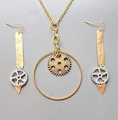 Parure Bijoux femme steampunk métal laiton - boucles d'oreille collier barre- avec rouage engrenage horloge montre mécanisme - cadeau fête des mères maman