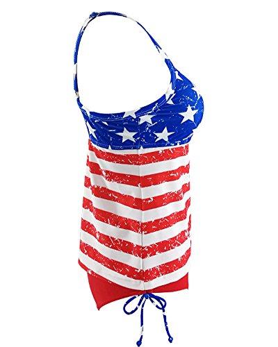 Damen Große Größen Druck Tankini Zweiteilig Schwimmanzug Streifen Two-Piece Bikini Sets Badeanzug Bademode Als Bild