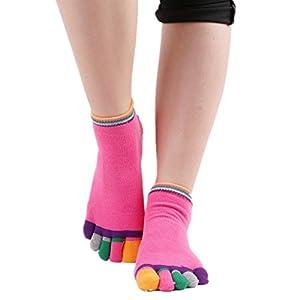 Maybesky Yoga-Socken Farbige Zehe Rutschfeste Gummisocken offen-Toed Baumwollsocken Pilates, Anti-Rutsch-Slip-Socken