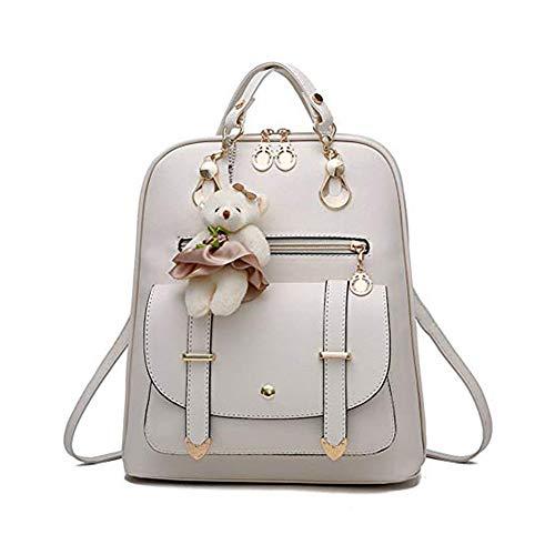 Design Satchel Handtasche ( Mini Babala School Taschen Rucksack Frauen Handtaschen Reisetasche Satchel Metall Mode PU-Leder, off white)