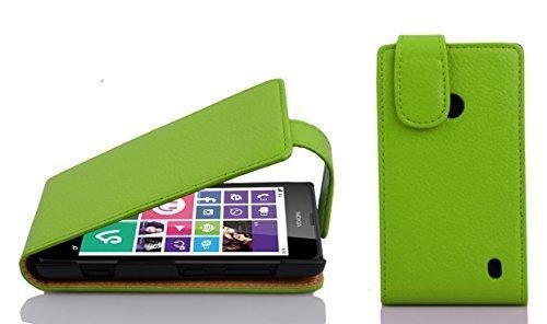 Preisvergleich Produktbild Cadorabo Hülle für Nokia Lumia 630 / 635 Hülle in Apfel grün Handyhülle aus Strukturiertem Kunstleder im Flip Design Case Cover Schutzhülle Etui Tasche Apfel-Grün
