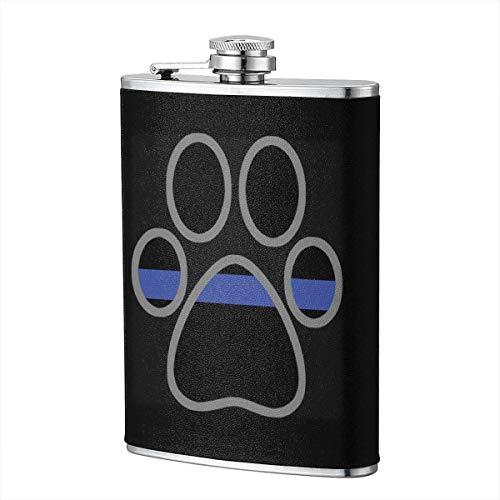 Dünne blaue Linie Flagge Hund Pfote Flasche Edelstahl 8 Unzen Flasche Whisky Flasche Wodka Flasche tragbare Tasche Flasche, Tasche Flasche, Camping Weinflasche -