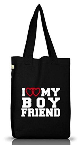 Shirtstreet24, I LOVE MY BOYFRIEND 4, Valentinstag Jutebeutel Stoff Tasche Earth Positive (ONE SIZE) Black