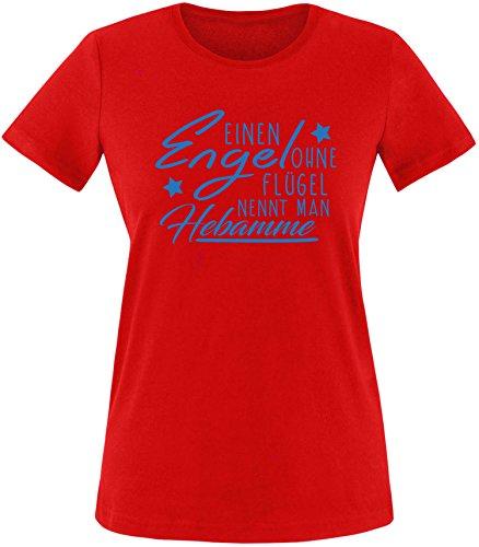 EZYshirt® Ein Engel ohne Flügel nennt man Hebamme Damen Rundhals T-Shirt Rot/Blau