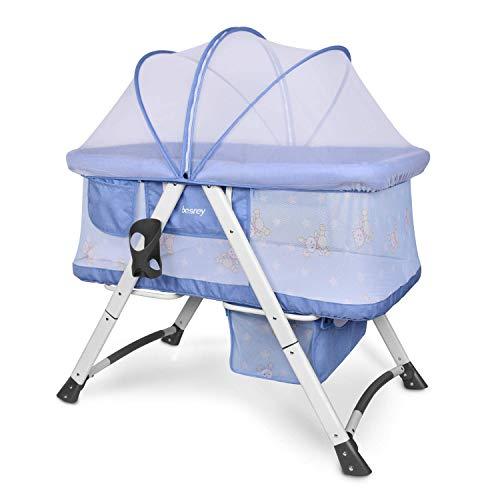 Besrey 2en1 Cuna para bebé plegable, Cuna infantil ultraligera, Cama infantil para niños con Colchón y Mosquitera