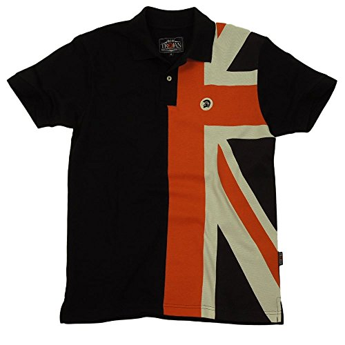Ska and Soul Trojan Union Flag Front Pique Polo Black