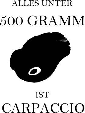 Mister Merchandise Tasche Alles unter 500 Gramm ist Carpaccio Stofftasche , Farbe: Schwarz Schwarz