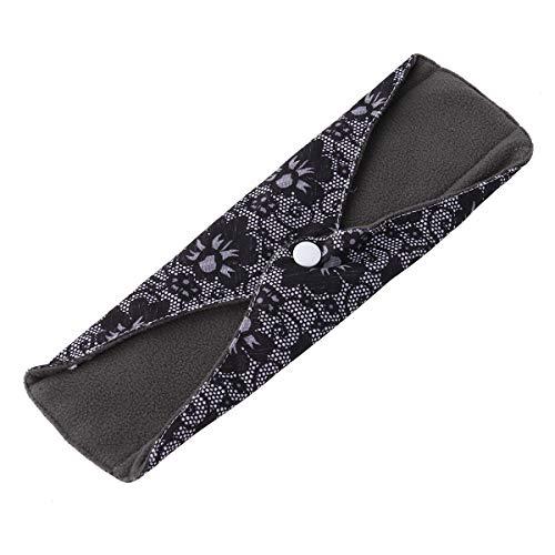 Yardwe Damenbinden Waschbar Wiederverwendbar Atmungsaktive Bambuskohle Stoff Menstruation Pads Slipeinlagen 25x18cm (Schwarz) -