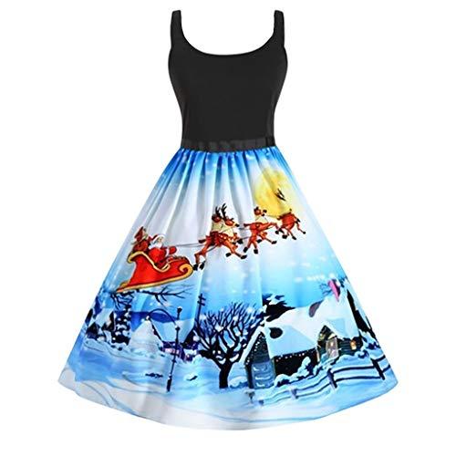 GATIK Damen ärmellose Kleider Farbe Weihnachten Muster Print Bandeau Mini Patchwork Abend Party Kleid Damen Swing A Line Kleider(XL,Blau)